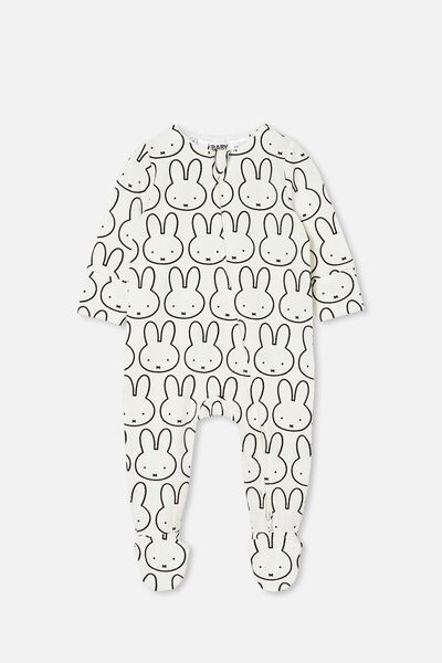 The Long Sleeve Zip Romper Lcn, LCN MIF VANILLA/MIFFY