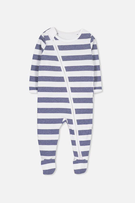 Sleep Mini Zip All In One Jumpsuit, WHITE/INDIAN INK MARLE STRIPE