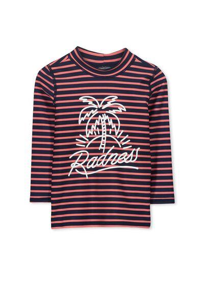 Fraser Ls Rash Vest, RED STRIPE/RADNESS