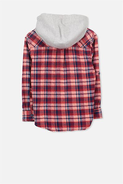 Harrison Hooded Long Sleeve Shirt, RED/PEACH CHECK