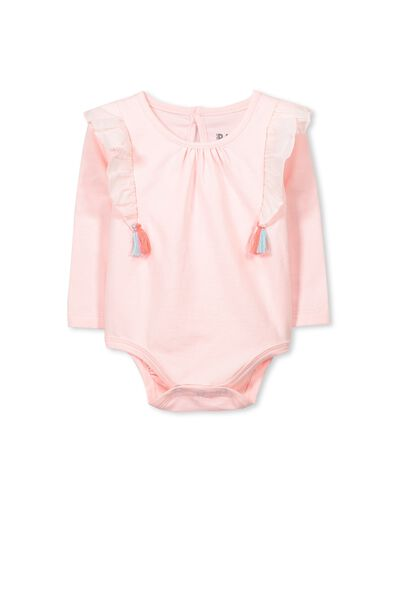 Mini Rose Flutter Shoulder Bubbysuit, BUBBLEGUM PINK