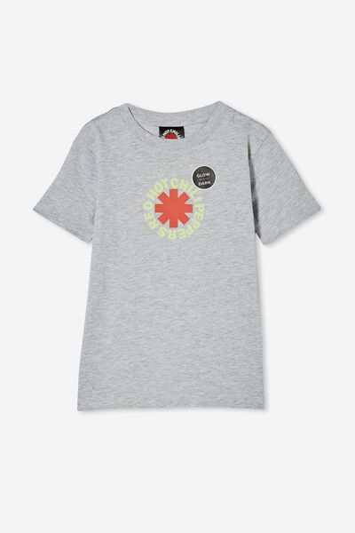 Short Sleeve License Embellished  Tee, LCN PRO GREY MARLE/RED HOT CHILI PEPPERS GLOW