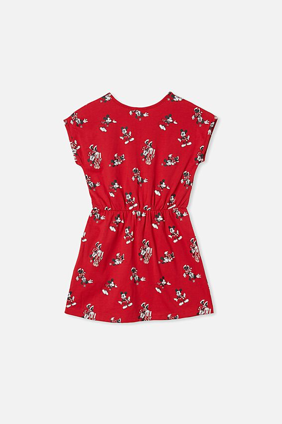 License Sigrid Short Sleeve Dress, LCN DIS LUCKY RED/CHRISTMAS MICKEY HEADS