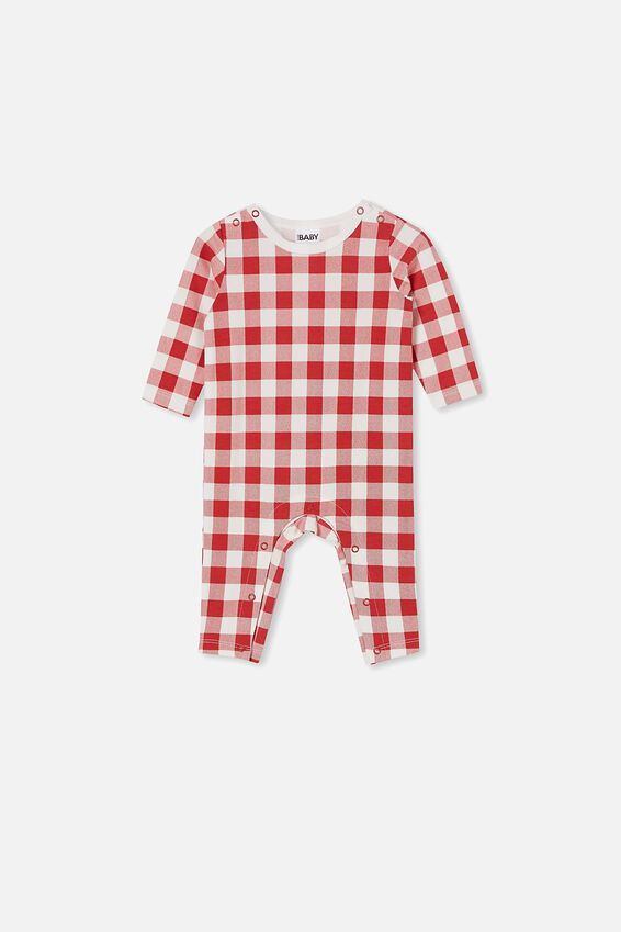 The Long Sleeve Snap Romper, LUCKY RED/CHRISTMAS GINGHAM