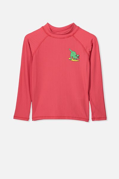 Flynn Long Sleeve Rash Vest, TOMATO PUREE RIB