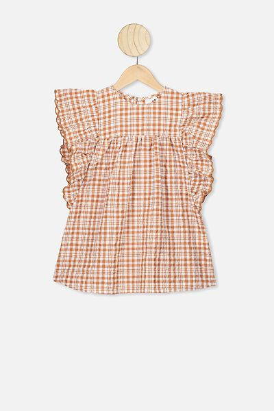 Maggie Short Sleeve Dress, AMBER BROWN CHECK