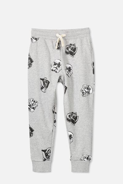 License Slouch Trackpant, LT GREY MARLE/STAR WARS HEADS