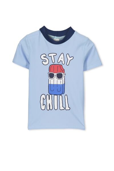 Finley Ss Rash Vest, EXCLUSIVE BLUE/STAY CHILL