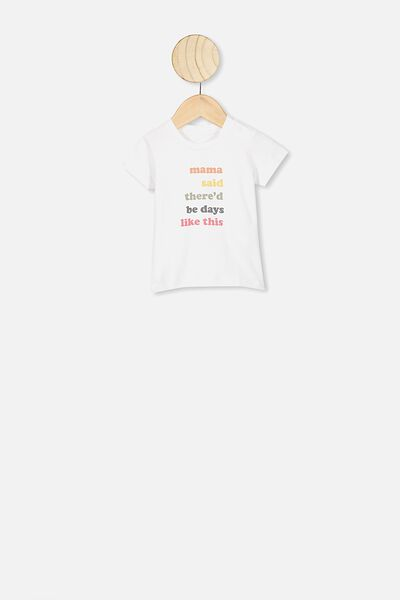 Jamie Short Sleeve Tee, WHITE/MAMA SAID NTH NOTE