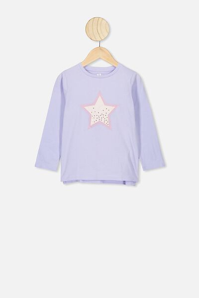 Stevie Ls Embellished Tee, SMOKEY LILAC/STAR DUST