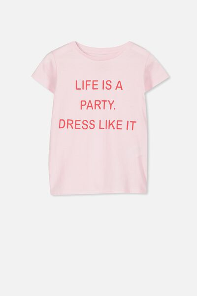 Penelope Short Sleeve Tee, PINK/LIFE IS A PARTY/SET IN