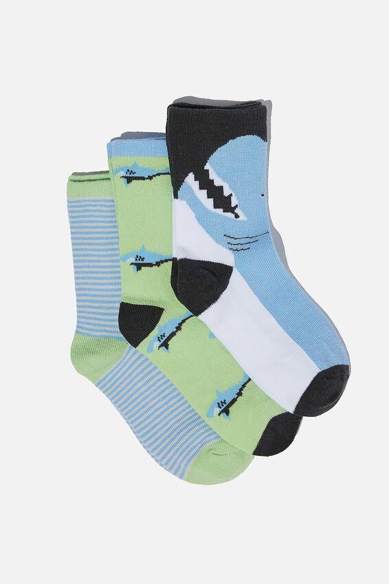 Kids 3Pk Crew Socks, BLUE SHARK