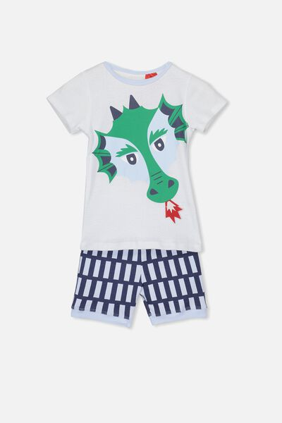 Joshua Short Sleeve Pyjama Set, FIRE DRAGON