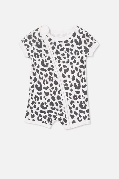 Mini Ss Zip Through Romper, WHITE/OCELOT PRINT
