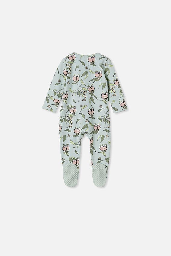 May Gibbs Long Sleeve Zip Romper, LCN MAY STONE GREEN/GUMNUT BABIES