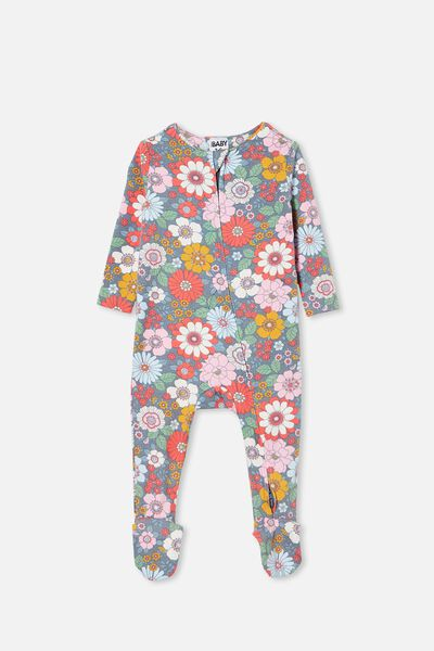 The Snug Long Sleeve Zip Romper, STEEL/CALI PINK RETRO FLORAL