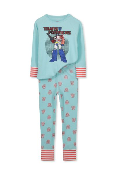 Louis Boys Raglan Long Sleeve Waffle Pyjama Set, TRANSFORMER GRID