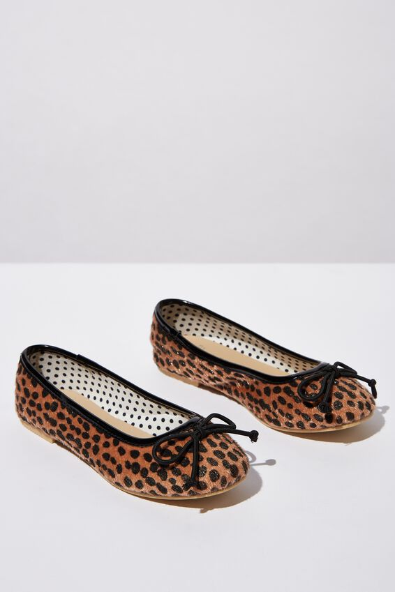 Ballet Flats, TAN ANIMAL FAUX