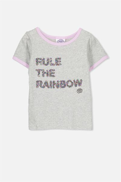 Lux Short Sleeve Tee, GREY MARLE/MY LITTLE PONY RULE THE RAINBOW