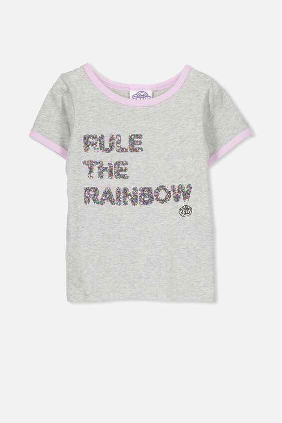 Rule The Rainbow Sequin Short Sleeve Tee, GREY MARLE/MY LITTLE PONY RULE THE RAINBOW