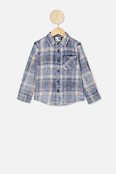 Fairfax Long Sleeve Shirt, DENIM WASHED CHECK