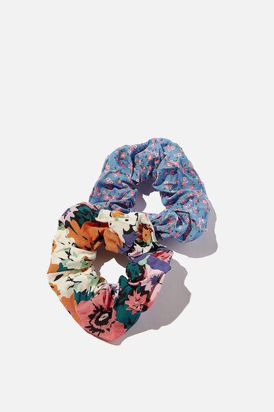 Hannah Hair Ties - Super Scrunchies, NAVY/GREEN FLORALS