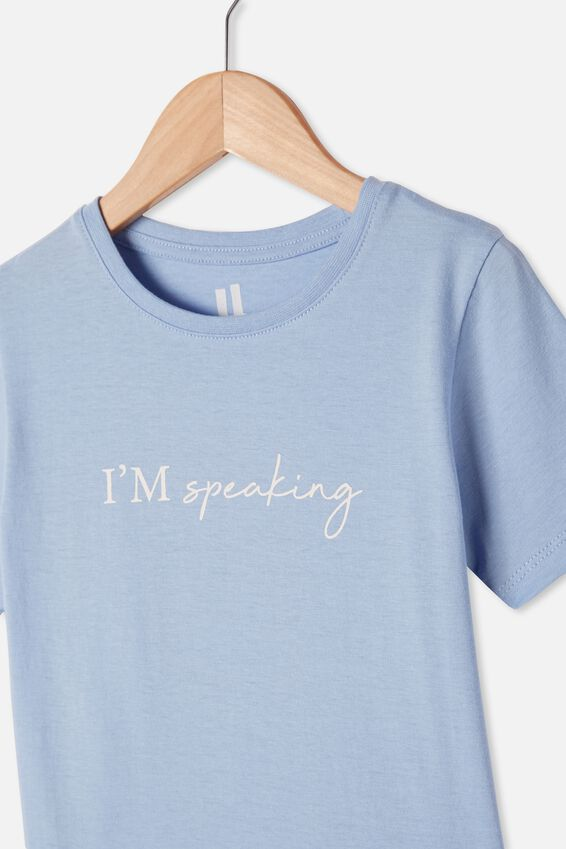 Penelope Short Sleeve Tee, DUSK BLUE/I M SPEAKING
