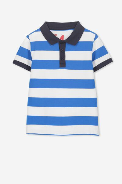 Kenny 3  Polo, VANILLA/MALIBU BLUE STRIPE