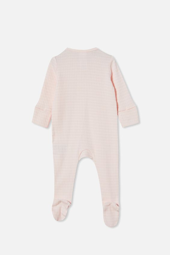 Organic Newborn Zip Through Romper, CRYSTAL PINK/MILK SALLA STRIPE