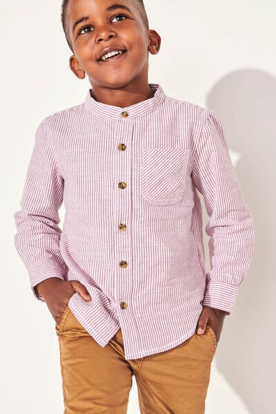 Grandpa Collar Prep Shirt, VINTAGE BERRY/WHITE STRIPE