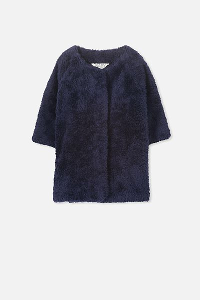 Teddy Long Line Coat, TWILIGHT BLUE