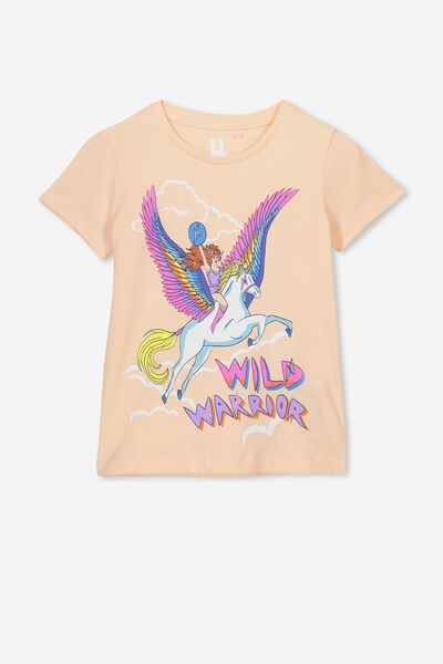Penelope Short Sleeve Tee, PALE PEACH/WARRIOR GIRL/MAX