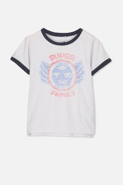Callum Short Sleeve Tee, WHITE SLUB/SUPER FAMILY