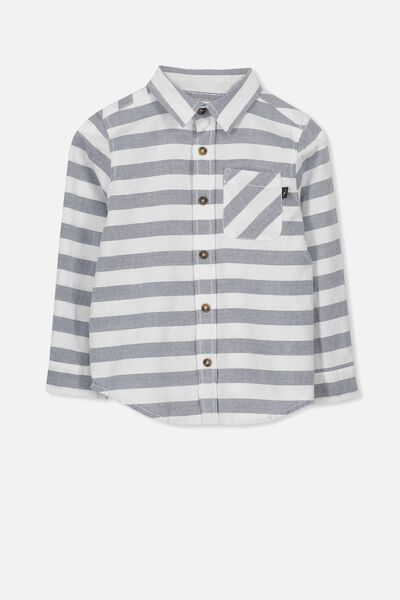 Noah Long Sleeve Shirt, BLUE OXFORD STRIPE