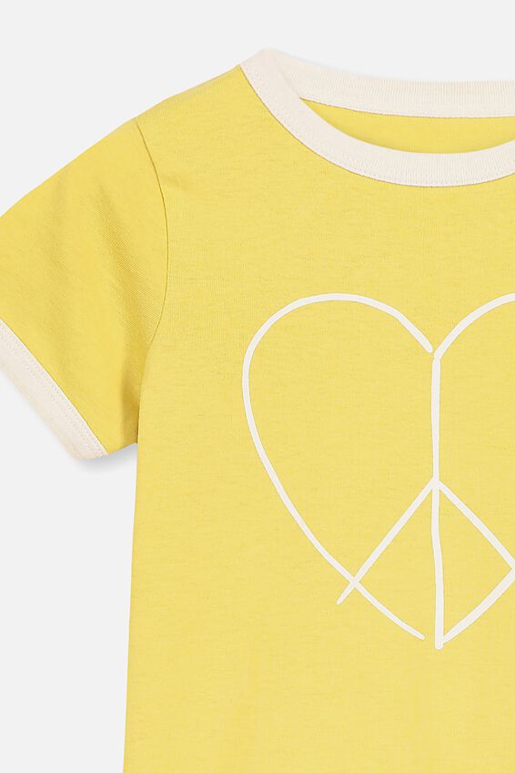 Penelope Short Sleeve Tee, CORN SILK/PEACE HEART/RINGER