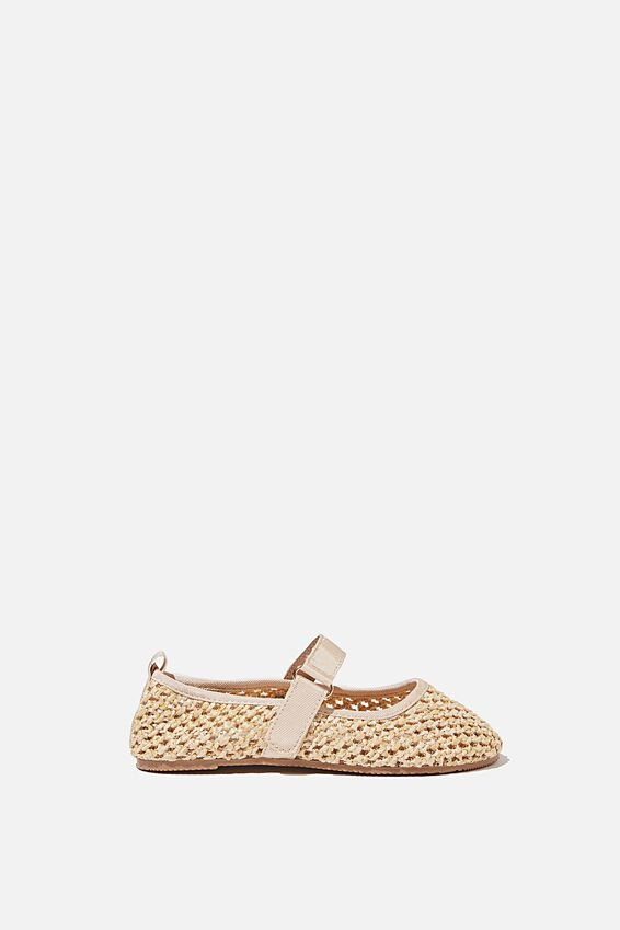 Kids Primo Ballet Flat, NATURAL WOVEN