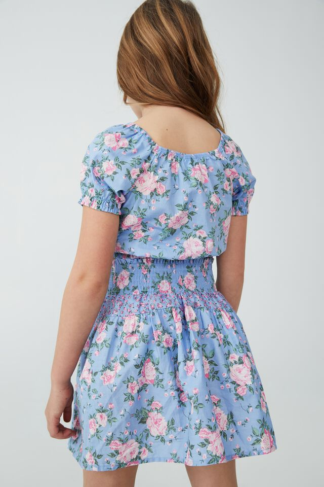 Adelaide Puff Sleeve Top, DUSK BLUE/WHITBY ROSE FLORAL