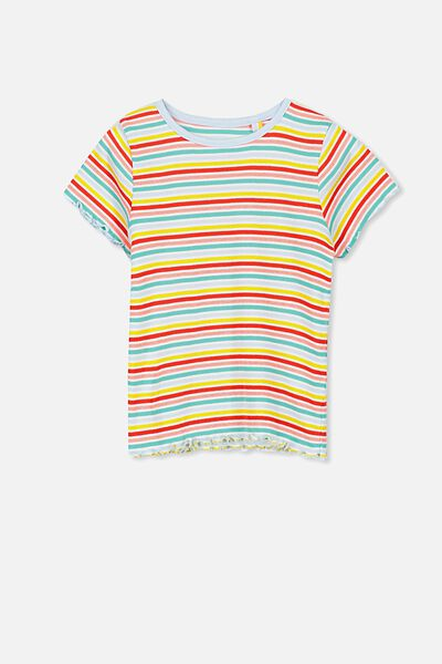 Billie Short Sleeve Tee, RAINBOW STRIPE