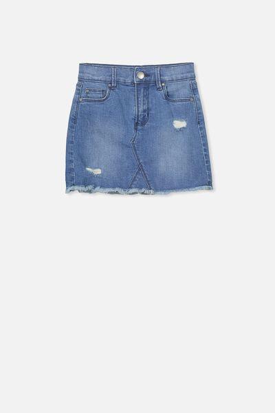 Finn Denim Skirt, MID WASH RIP N REPAIR