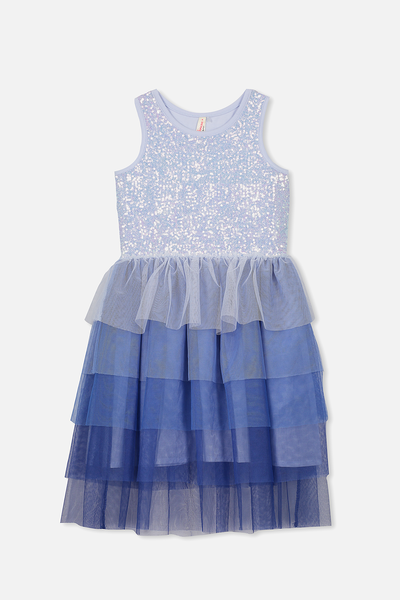 Iris Tulle Dress, MORNING BLUE/GRADIENT