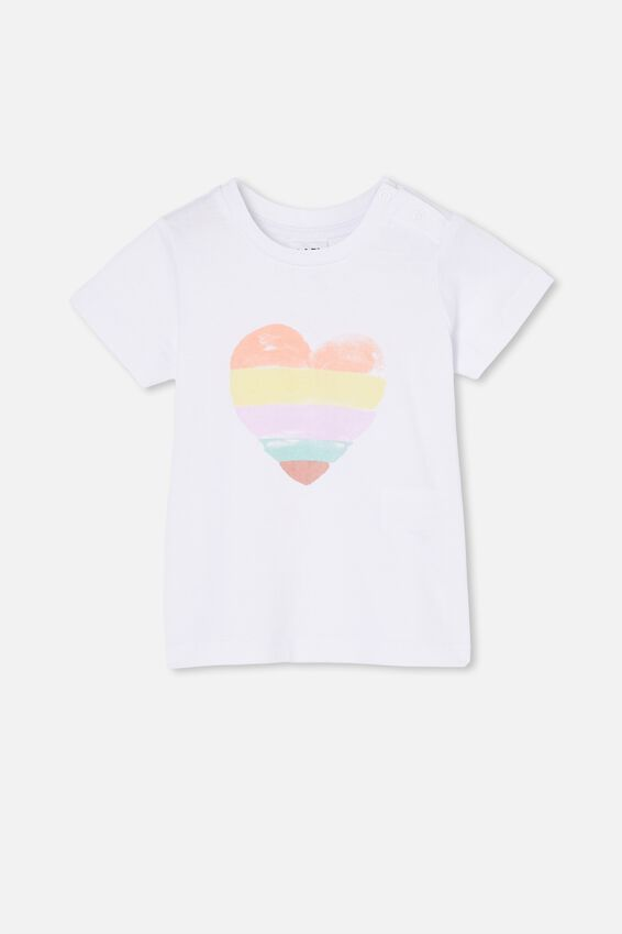 Jamie Short Sleeve Tee, WHITE/WATERCOLOUR HEART