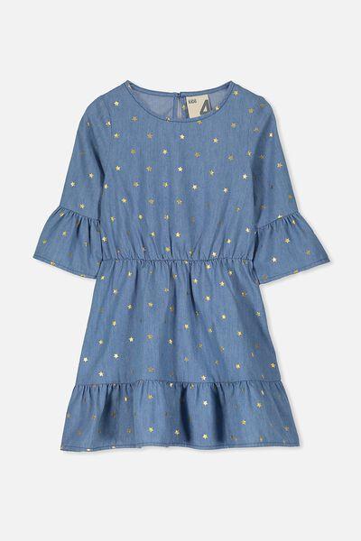 Charise Dress, MID BLUE WASH/STAR