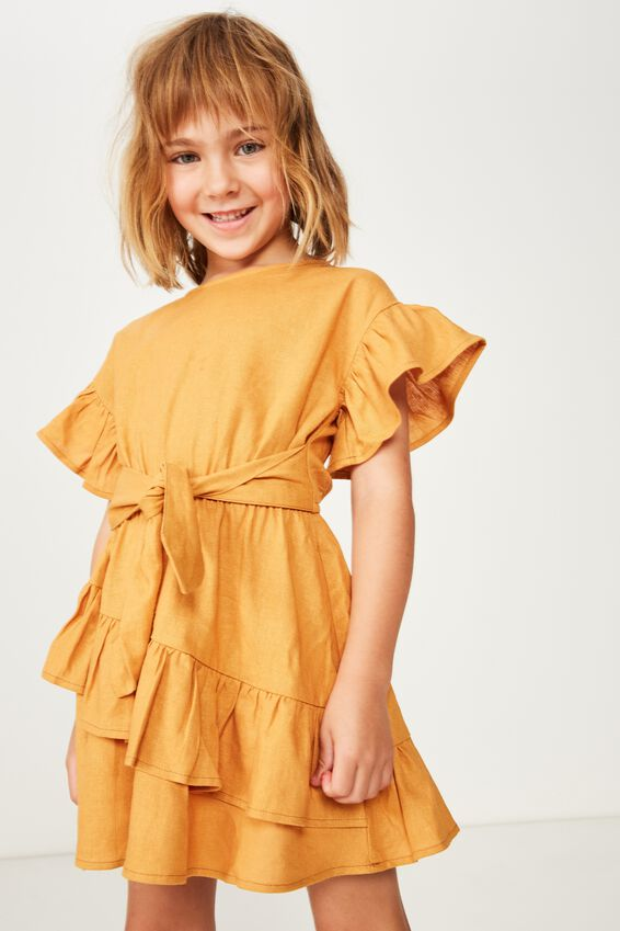 Jodie Short Sleeve Dress, AMERICAN CHEDDAR
