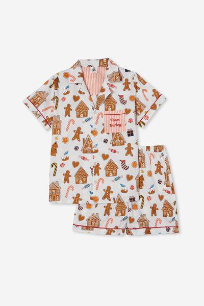 Carter  Short Sleeve Pyjama Set Personalised, GINGERBREAD XMAS/VANILLA