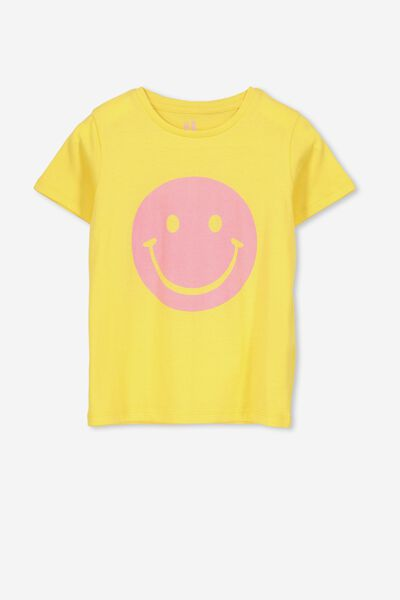 Penelope Short Sleeve Tee, DUNGAREE YELLOW/SMILEY/MAX