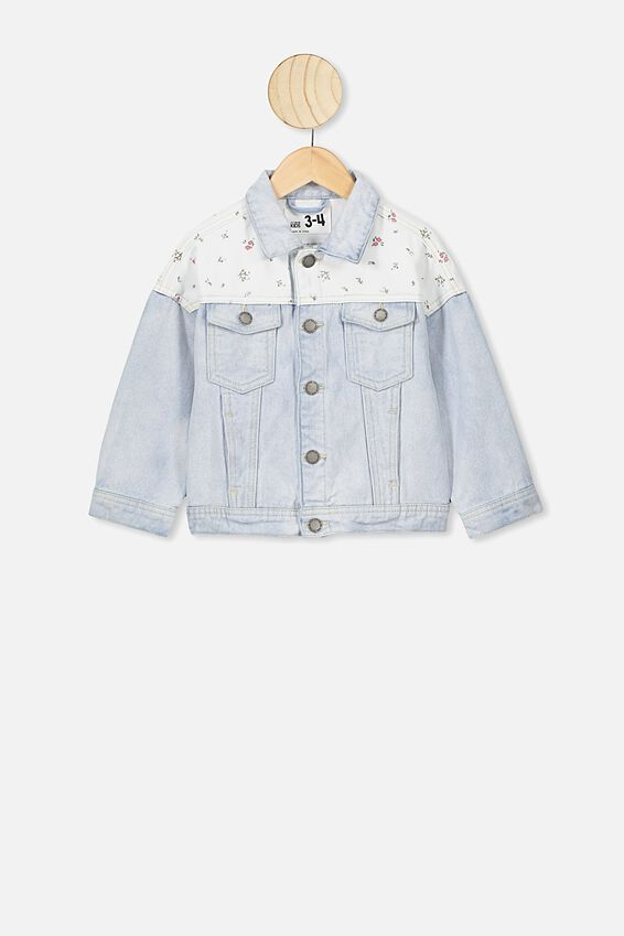 Emmy Spliced Trucker Jacket, BLEACH WASH FLORAL FIELDS