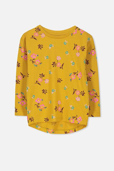 Penelope Long Sleeve Tee, MINERAL YELLOW/DITSY FLORAL/DROP