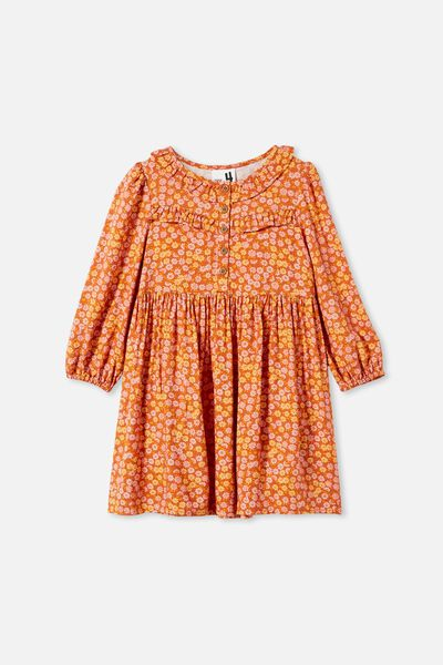 Adeline Long Sleeve Dress, ROASTED ALMOND/RETRO DITSY