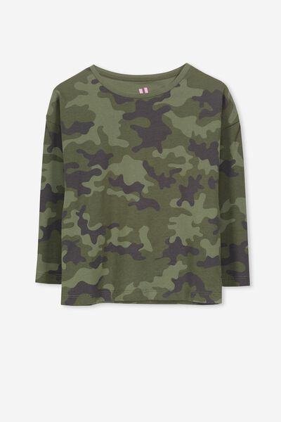 Penelope Long Sleeve Tee, FOUR LEAF CLOVER/CAMO DREAMS/DROP