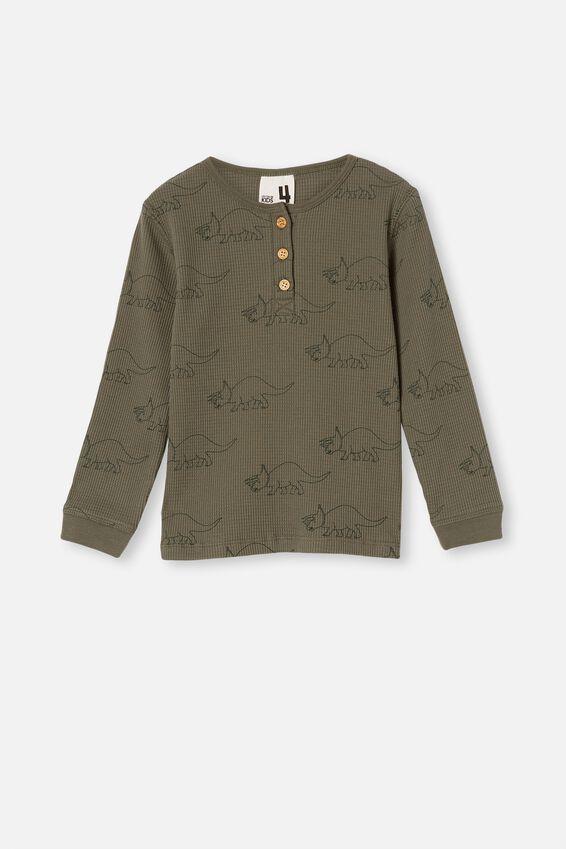 Ryan Waffle Long Sleeve Pyjama Set, DINOSAUR SWAG GREEN